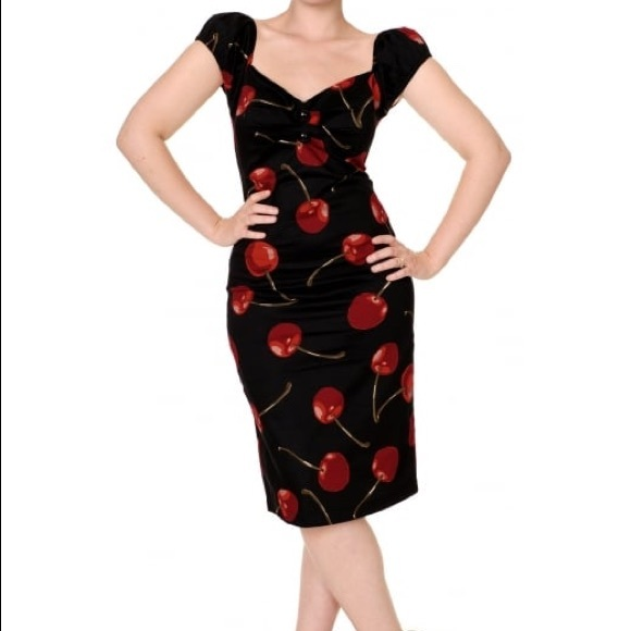 collectif Dresses   Skirts - Collectif Cherry Dress Rockabilly Pinup Retro  VLV 29958cdf4